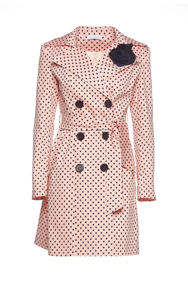 LaDonna rosa trenchcoat dots print flower shaped brestpin