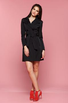 LaDonna black trenchcoat with pockets long sleeve