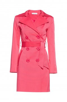 LaDonna pink trenchcoat with pockets long sleeve