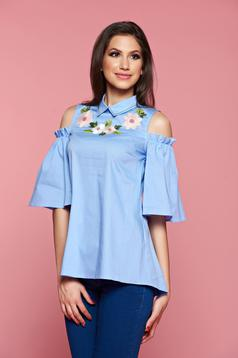 LaDonna lightblue both shoulders cut out women`s shirt with embroidery details