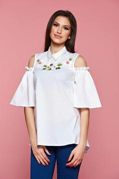 LaDonna white both shoulders cut out women`s shirt embroidery details