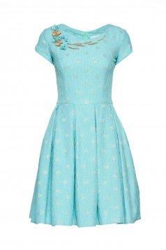 LaDonna mint jacquard dress with floral details