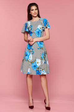 LaDonna cloche blue dress with floral print and vertical stripes