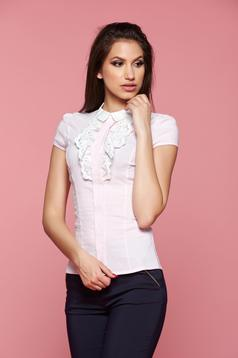 Fofy rosa cotton women`s shirt round collar