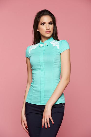Fofy mint women`s shirt short sleeve lace details