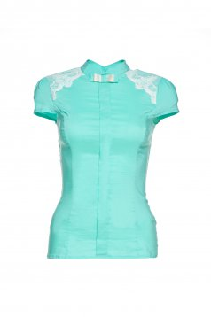 Fofy mint women`s shirt lace details short sleeve