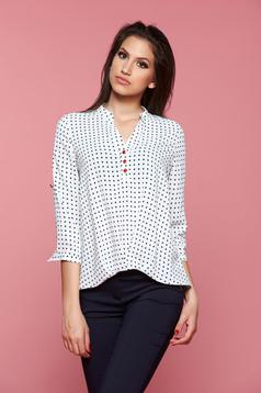 Fofy casual white women`s blouse with dots print and 3/4 sleeves