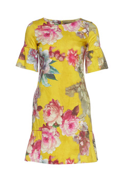 Fofy yellow dress with ruffles at the buttom and floral print