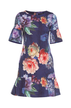 Fofy purple dress ruffles at the buttom of the dress with floral print