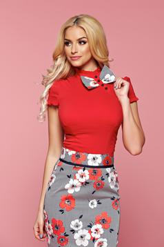 Fofy red short sleeve women`s shirt bow shaped accessory
