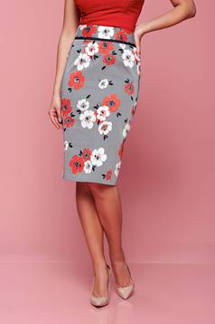 Fofy midi cotton red skirt with floral print