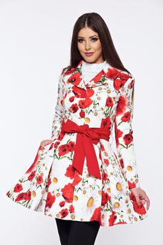 Artista white cloche trenchcoat with floral print with an accessory