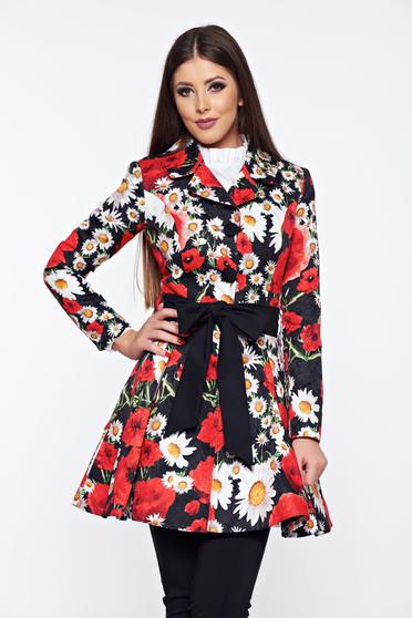 Artista black cloche trenchcoat with floral print and an accessory