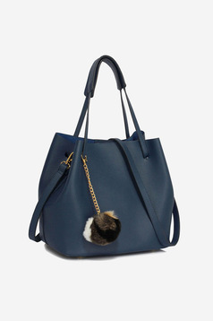 Casual darkblue bag with an accessory