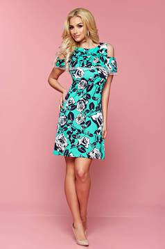 LaDonna green dress airy fabric with floral prints
