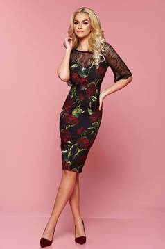 LaDonna black laced sleeves dress with floral prints