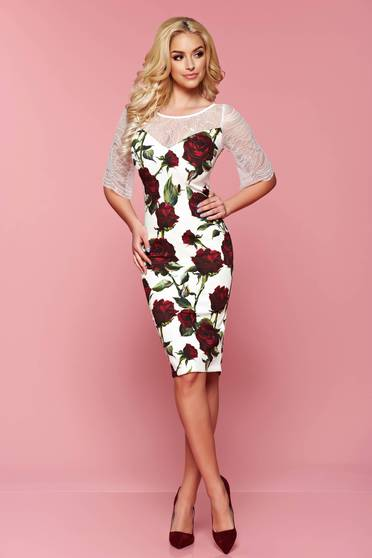 LaDonna white laced sleeves dress with floral prints