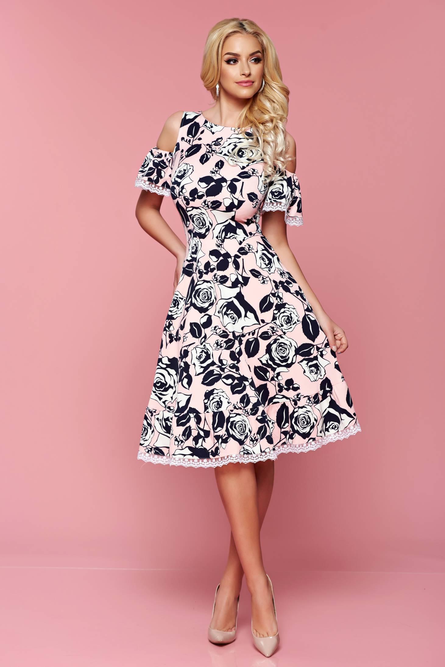 ec12d757a2 Rózsaszínű lenge anyag váll nélküli LaDonna ruha