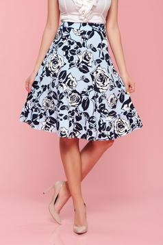 LaDonna lightblue flared skirt with floral prints