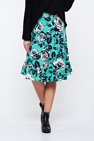 LaDonna green flared skirt with floral prints