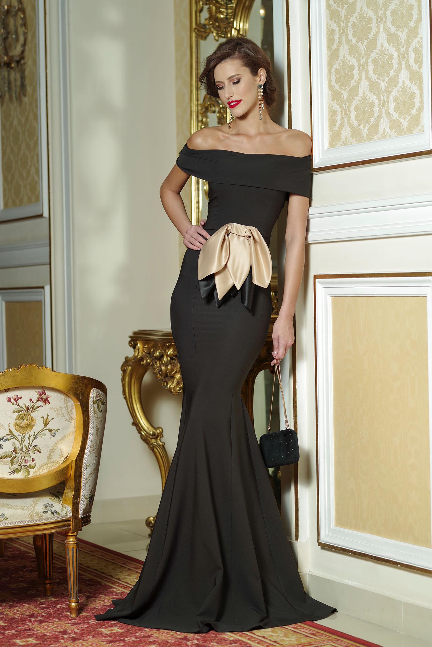 Fekete Artista estélyi ruha masni alakú kiegészítővel 7490ac4b91
