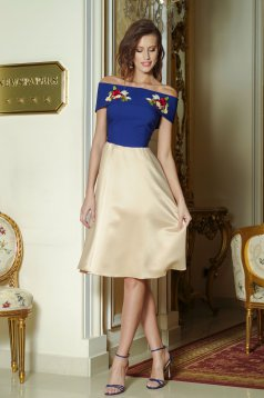 Occasional Artista cream dress with satin fabric texture embroidery details