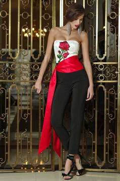 Artista black embroidered sleeveless jumpsuit with push-up bra