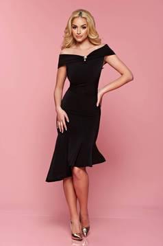 Artista black asymmetrical dress accessorized with tied waistband