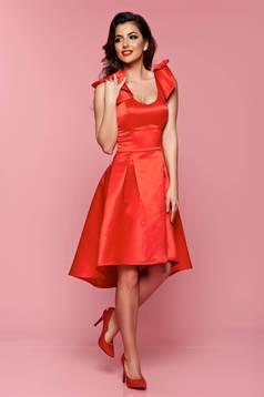 Artista red asymmetrical dress push-up bra bow accessories