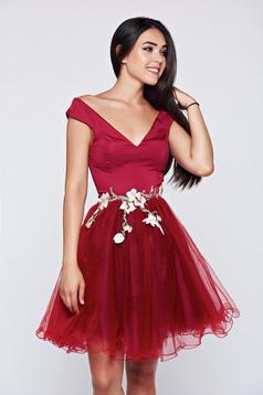 Artista burgundy net occasional dress with satin fabric texture