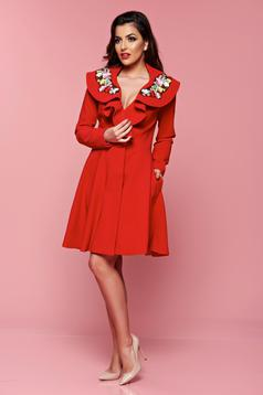 Artista Magic Embroidery Red Trenchcoat