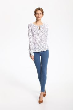 Top Secret white airy fabric women`s blouse with dots print