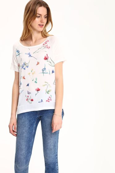 Top Secret casual white t-shirt with floral prints