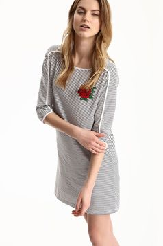 Top Secret white dress with stripes and embroidery details