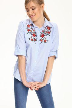 Top Secret lightblue women`s shirt with embroidery details and stripes