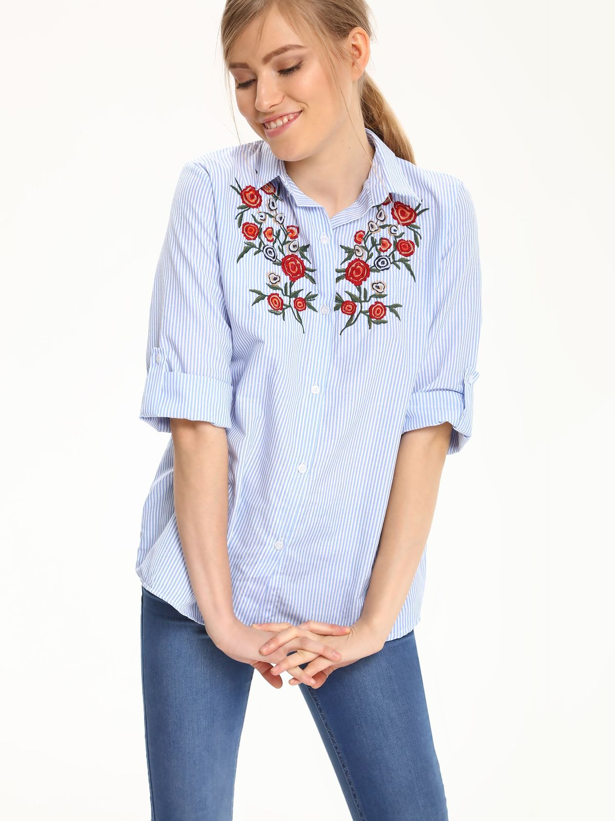 Camasa dama cu dungi Top Secret albastra-deschis cu insertii de broderie