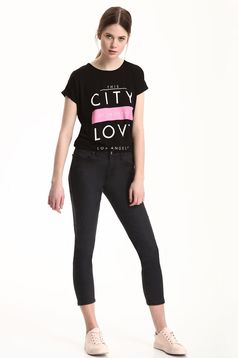 Top Secret black casual t-shirt with writing print