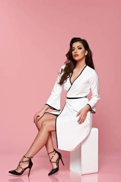 PrettyGirl white wrap around dress with 3/4 sleeves
