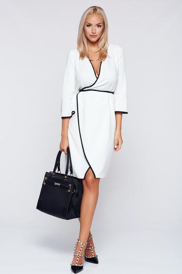 PrettyGirl white wrap around dress with 3/4 sleeves