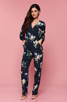 PrettyGirl darkblue airy fabric elastic waist jumpsuit