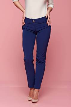 PrettyGirl blue office conical trousers with pockets