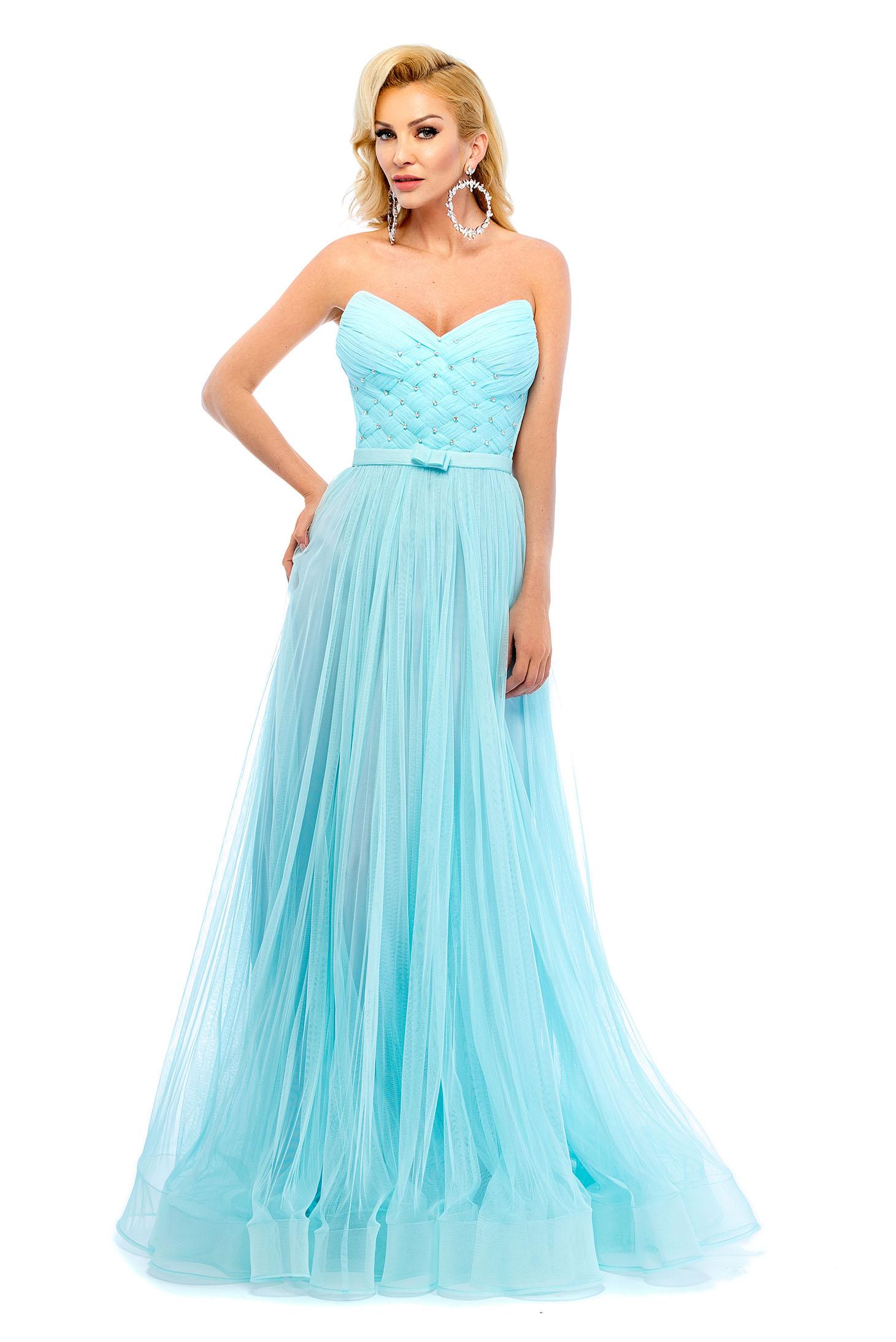 Ana Radu turquoise evening dresses off shoulder dress push-up bra