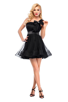 Ana Radu black net dress with satin fabric texture