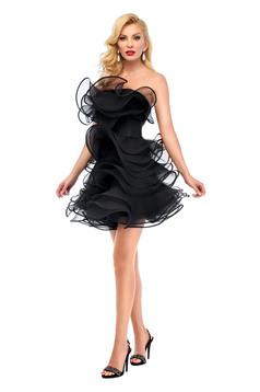 Ana Radu black evening dress with ruffle details