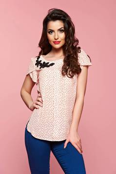 LaDonna peach easy cut women`s blouse with butterfly sleeves
