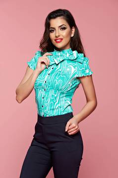 Fofy mint short sleeve women`s shirt bow shaped accessory