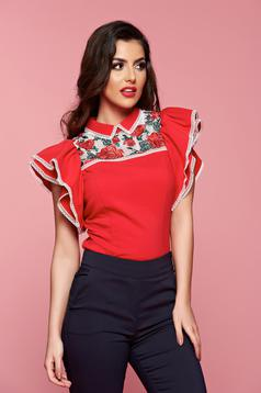 Fofy red women`s shirt with butterfly sleeves embroidery details