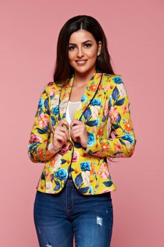 Fofy yellow long sleeve jacket with floral prints