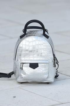 Silver bag metallic aspect leather