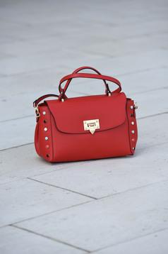 Red leather bag metallic buckle metallic spikes